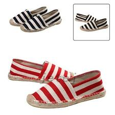 Vintage Womens And Men Flat Slip On Espadrilles Pumps Canvas Plimsoles Shoes