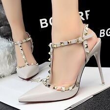 Sexy Hollow Out T Strappy Pumps High Stiletto Pointed Shallow Sandal Women Shoes