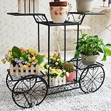 Metal Cart Flower Rack Display Garden Tree Home Decor Patio Plant Stand Holder