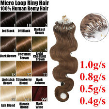 "20"" 1.0g/s Remy body Wavy Human Hair Extensions Easy Loop Micro Rings Beads"