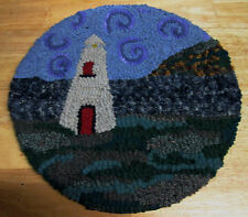 LIGHTHOUSE PICTORIAL ROUND Primitive Rug Hooking KIT WITH CUT WOOL STRIPS