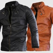 New Mens Fashion Slim Fit Zipper Leather Motorcycle Jacket Causal Coat Outwear