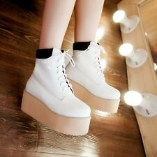British Womens Gothic Creeper Platform Lace Up Simple Oxford Ankle Boots Plus Sz