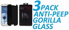 3x Anti-Spy Privacy Tempered Glass Screen Protector Film For Samsung Galaxy S3