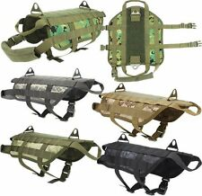 Molle Dog Vest K9 Army Tactical Harness Vests Packs Coat Two Leash Points L Size
