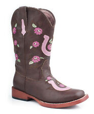 Roper Kids Girls Square Toe Brown Faux Leather Floral Horseshoe Cowboy Boots