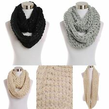Scarf Sequin Lurex Infinity Loop Circle Cowl Shiney Lining Knit Soft Fancy Cute