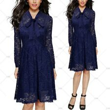 MIUSOL Women Vintage 1950s Cocktail Party Floral Lace Pleated Bowknot Slim Dress