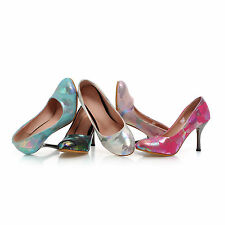 Women's Beautiful Synthetic Leather Round Toe High Heel Shoes Pumps AU Size D389