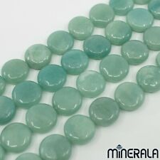 [1+1 AT 30% OFF] NATURAL AMAZONITE 20mm COIN LOOSE BEADS STRAND 15 3/4'' 40cm