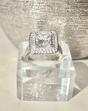 Beautiful 3.55ct Square Princess Engagement 2 Ring Set Sterling Silver 925