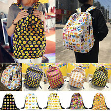 Smiley Emoji Print Backpack Rucksack Travel Sport Cinch Sack School Shoulder Bag