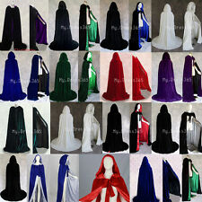 New Halloween Hooded Cloak Wedding Velvet Cape Pagan Witch-Various Colours S-XXL