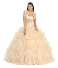 Quinceanera Dresses Elegant Long Strapless Sweetheart Organza Prom Bolero Jacket