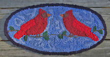 CARDINALS IN OVAL Primitive Rug Hooking KIT WITH #8 CUT WOOL STRIPS