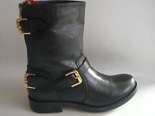 RAVEL Buckle Zip Detail Black Leather Boots UK Size 5