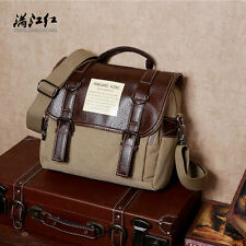 Men Vintage Canvas Leather Satchel School Military Shoulder Messenger Bag New