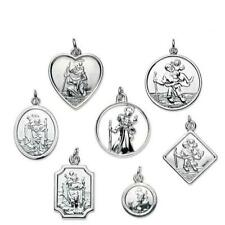 925 Real Sterling Silver St Christopher Pendant Medal | Various Shapes and Sizes