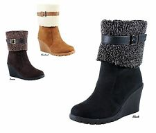 NEW Women Chic Micro Suede Faux Shearling Cuff Wedge Heel Ankle Boots Bootie
