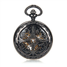 Steampunk Black Case Skeleton Mechanical Pendant Pocket Watch Reloj De Bolsillo
