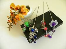Handmade Silver Chinese Filigree Motif style Hair Pin Stick Custom Made Options