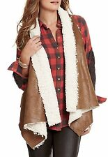 NEW! Coco & Jameson Toggle Back Faux Suede Shearling Vest Brown $49