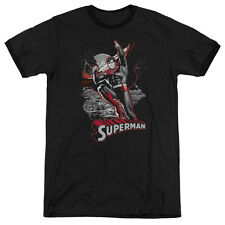 JUSTICE LEAGUE SUPERMAN RED GRAY Licensed Men's Ringer Graphic Tee Shirt SM-3XL