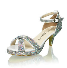 Marc Defang Exclusive - Girls Pre-teen Tween AB Crystal Platform Sandal Heels