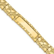 Genuine 14k Yellow Gold 12mm Solid Nugget ID Bracelet 33.55 gr 7 to 8 Inches