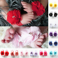 2 Pairs Cute Newborn Baby Girl Infant Foot Flower Beautiful Chiffon 14 Colors