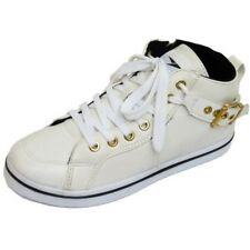 LADIES WHITE LACE-UP HIDDEN WEDGE TRAINER ANKLE HI-TOP BOOTS SHOES PUMPS UK 3-8
