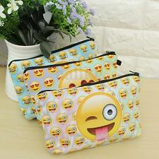 Kids Emoji Pencil Case Pen Makeup Cosmetic Bag Storage Organizer Pouch Handbag