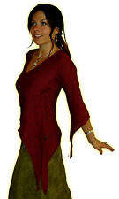 MEDIEVAL POINTY HOOD HOODED WOVEN COTTON TOP black green red brown purple PIXIE