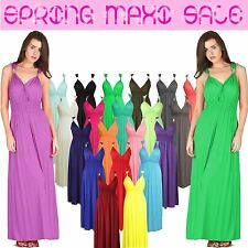 New Ladies Womens SPRING MAXI Dress Long Stretch Coil Sleeveless Jersey Flared