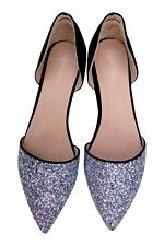 Black Silver Sparkly Glittery Pointed Toe Flat Shoes Ballet Pumps Sz 3 4 5 6 7 8
