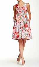 NWT Maggy London Sleeveless V-Neck Floral Print Fit & Flare Dress Pockets M 8