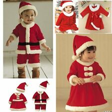 Baby Boy Girl Christmas Xmas Party Santa Claus Costume Dress Outfit Suit+HAT Set