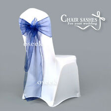 New Navy blue Sheer Organza Chair Sashes Bows Wedding Party Banquet DIY Decor
