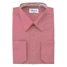 Berlioni Italy Solid Mens Dress Shirt Italian French Convertible Cuff - Rose