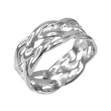 14k Solid White Gold Celtic Braided Weave Wedding Band Ring