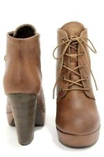 Steve Madden Raspy Cognac Distressed Leather Lace Up Platform Bootie Ankle Boots