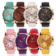 Unisex Casual Watch PU Leather Strap Analog Quartz Fashion Wrist Watches New KG