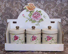 ~3~SPICE RACK -  Roses - 3 large Vintage canisters - French Chic Shabby Chippy