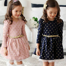 Kids Girls Long Sleeve Tutu Pleated Dress Princess Clothes Casual Preppy Outfit