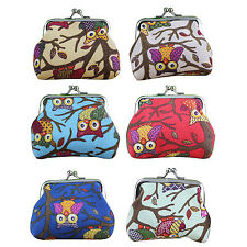 Women's Owl Printed Coin Purse Wallet Canvas Pouch Money Bag YM
