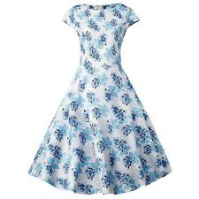 Blue Vintage Floral Young Lady Dress Casual Fresh Vestidos Party Dress Womens