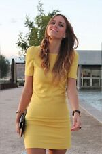 ZARA bnwt yellow dress with shoulder Pads Bloggers Favourite Sold Out Medium M L