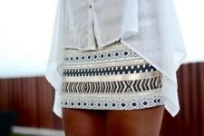 ZARA aztec ethnic mini skirt cream gold bead sequin bloggers sold out XS M
