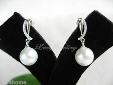 White Shell Pearl Platinum Polished Plated Stunning Curve Earrings Present