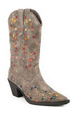 Roper Boots Kids Brown Faux Leather Floral Stitch Girls Cowboy